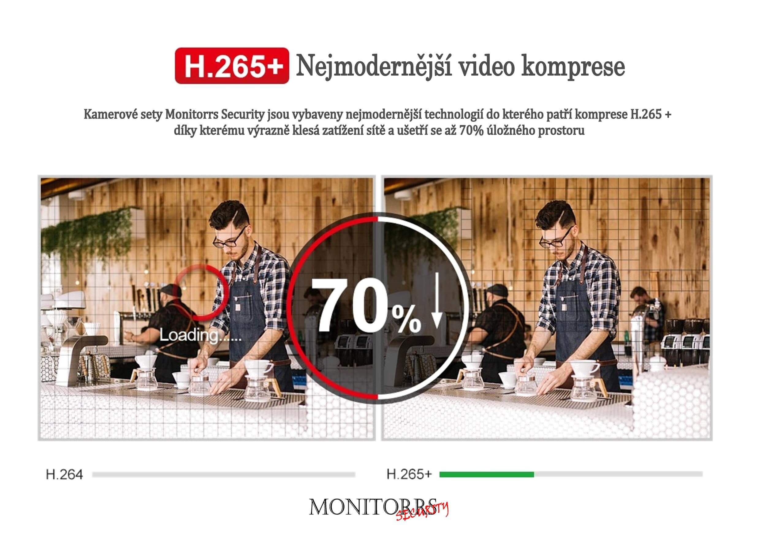 Monitorrs Security 4K AHD 8 kamerový set 8 Mpix WTube (6281K8)