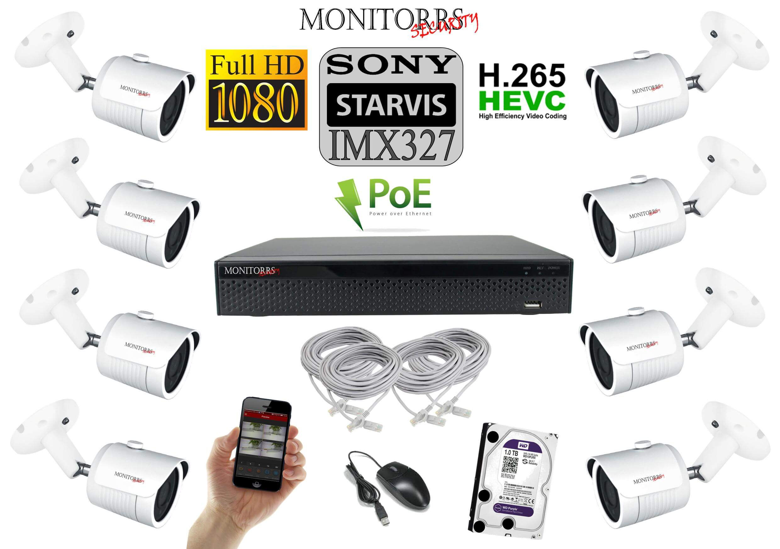Monitorrs Security Starvis IP 8 kamerový set 2 Mpix WTube (6519K8)