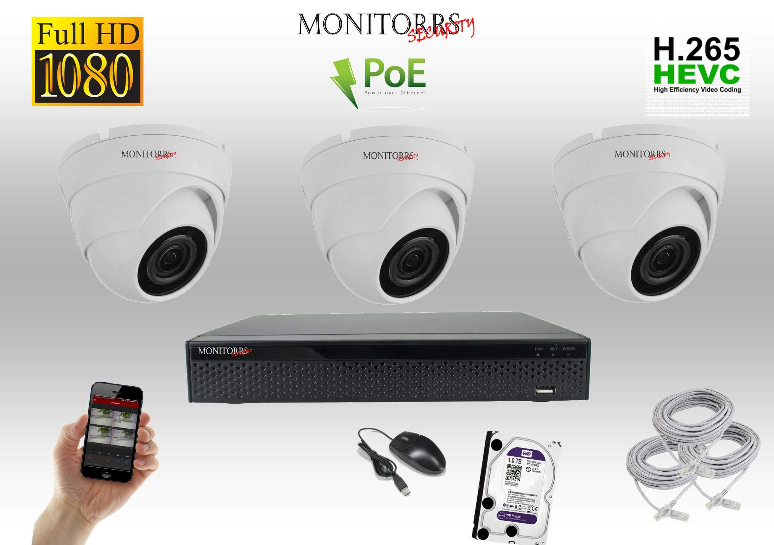 Monitorrs Security  IP 3 kamerový set 2 Mpix WDome (6001K3)