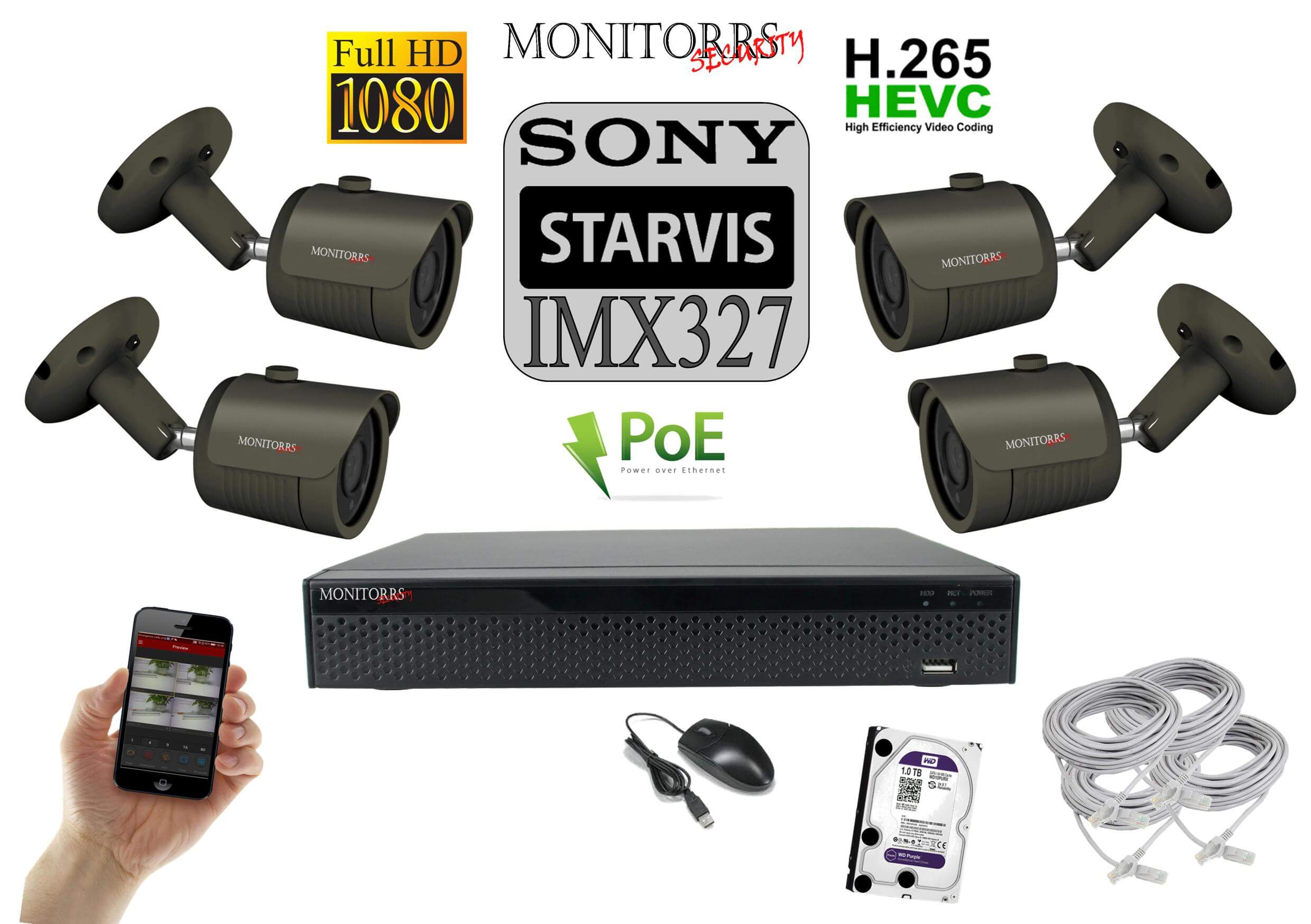 Monitorrs Security Starvis IP 4 kamerový set 2 Mpix GTube (6172K4)