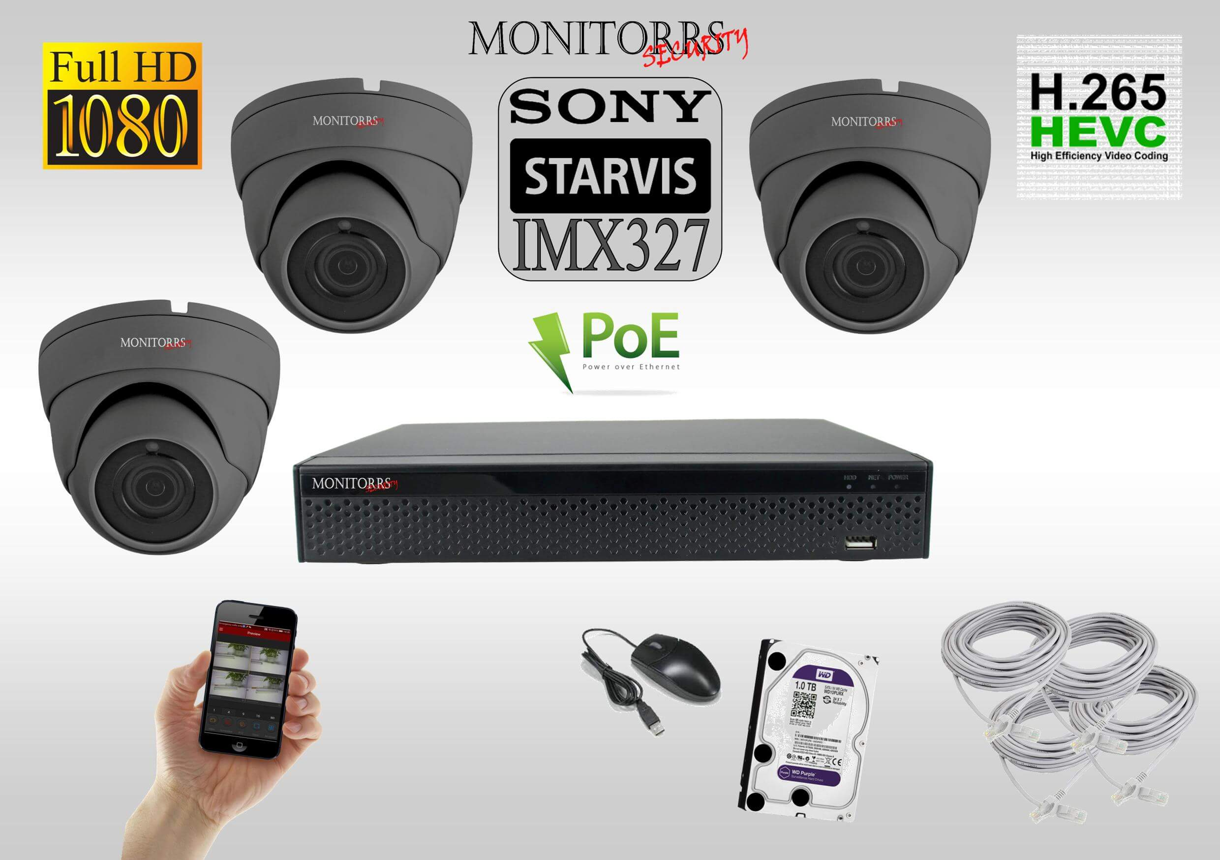 Monitorrs Security Starvis  IP 3 kamerový set 2 Mpix GDome (6171K3)