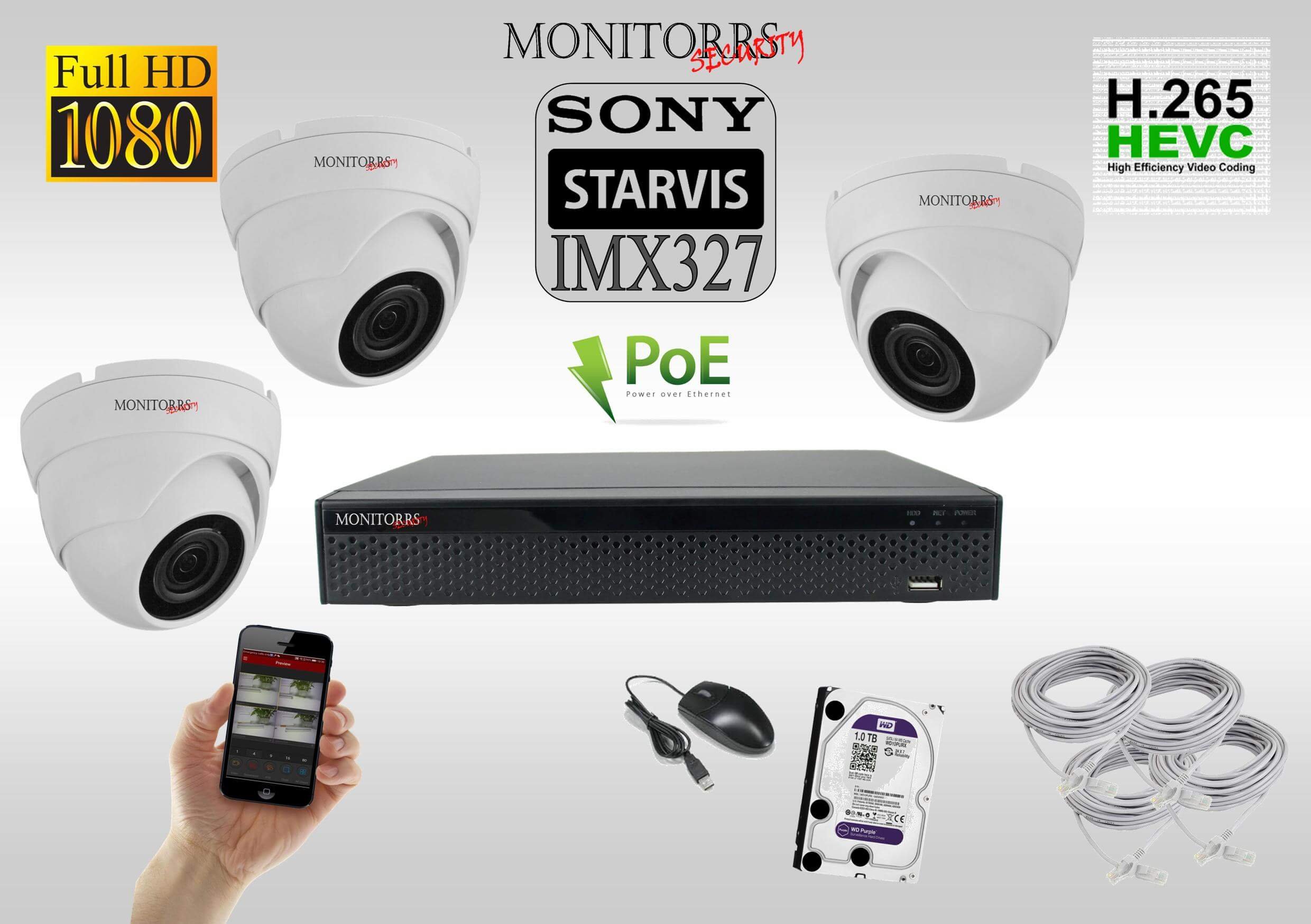 Monitorrs Security Starvis IP 3 kamerový set 2 Mpix WDome (6280K3)