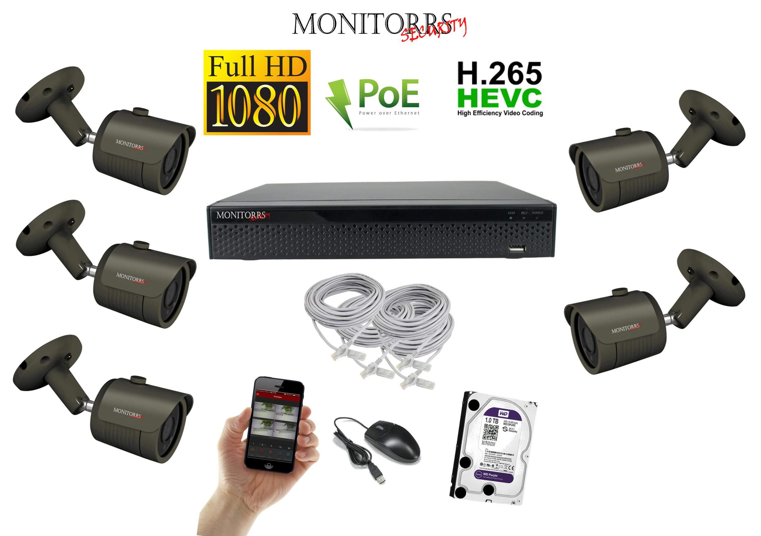 Monitorrs Security IP 5 kamerový set 2 Mpix GTube  (6170K5)