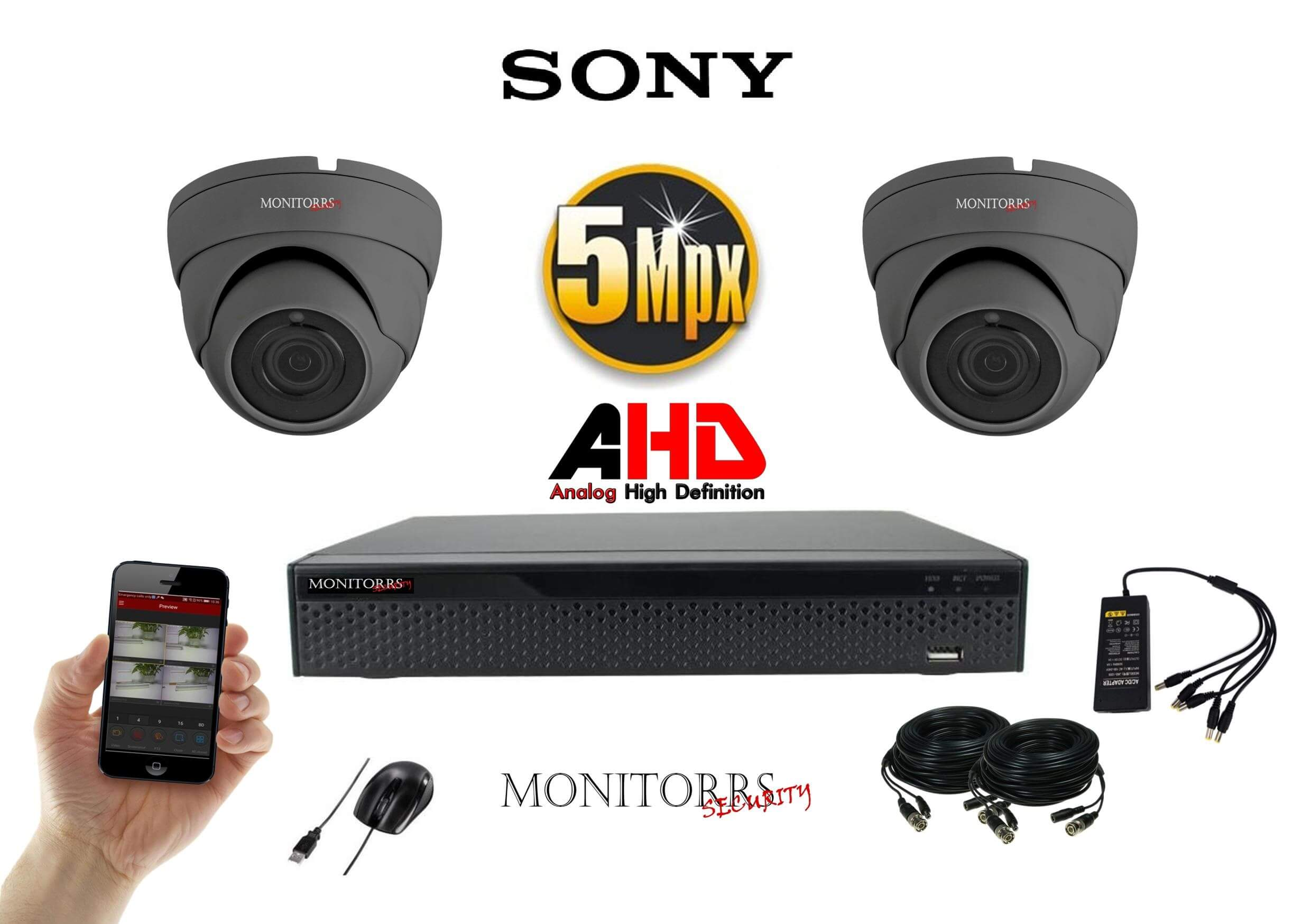 Monitorrs Security AHD 2 kamerový set 5Mpix GDome (6509K2)