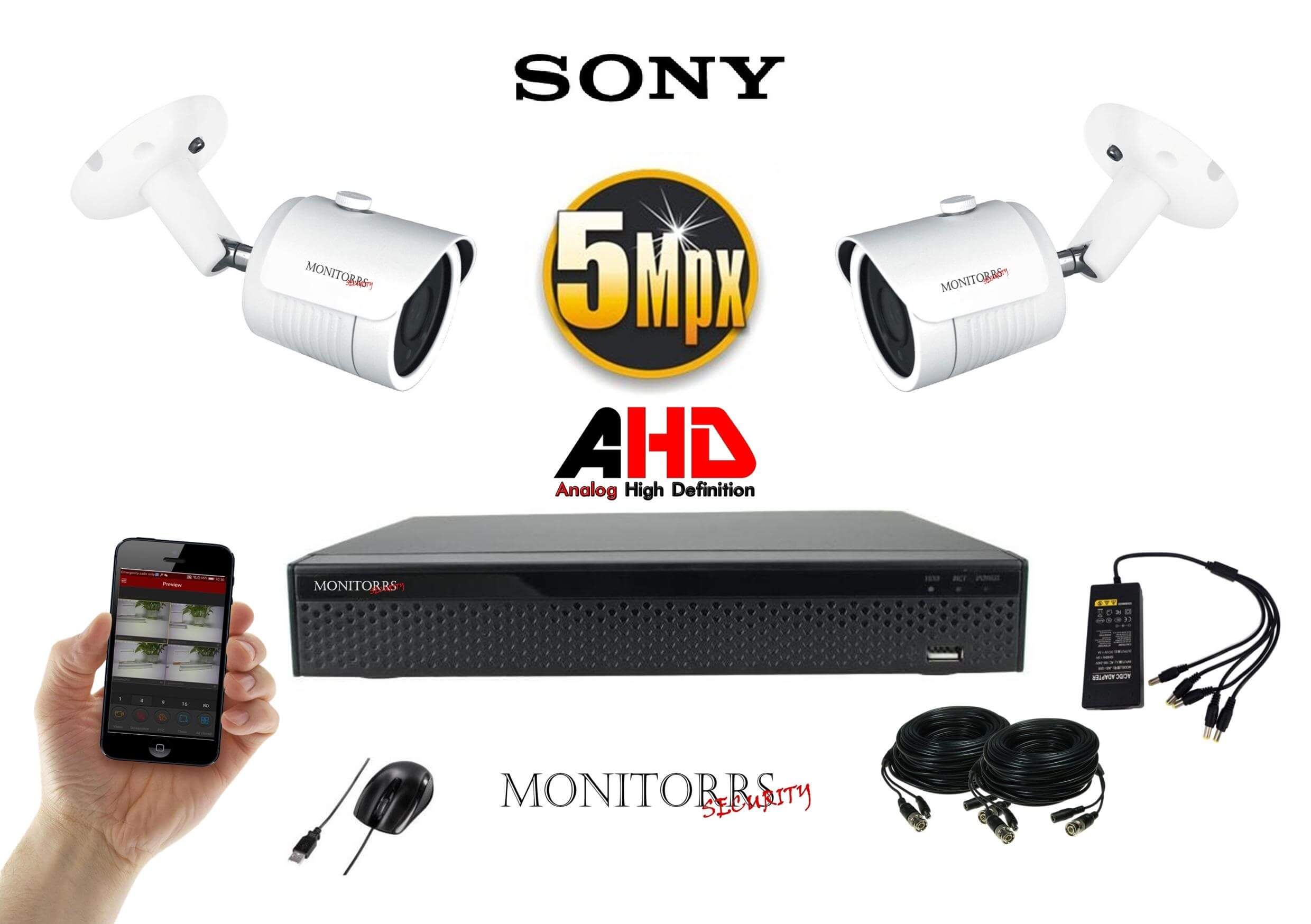 Monitorrs Security AHD 2 kamerový set 5 Mpix WTube (6510K2)