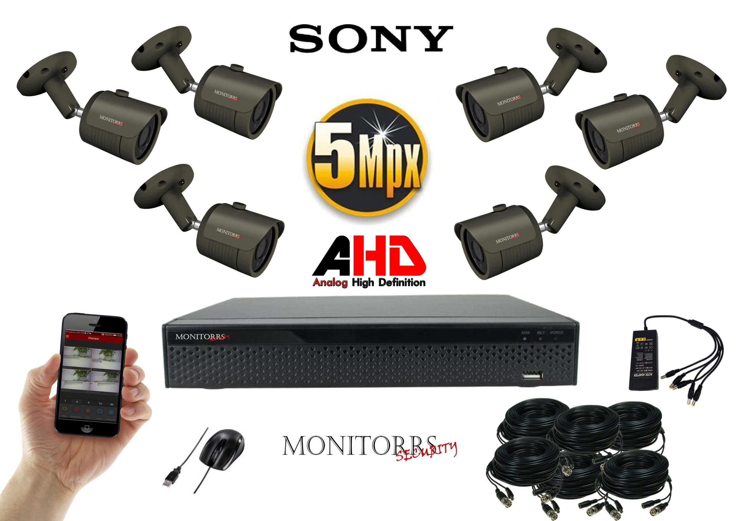 Monitorrs Security AHD 6 kamerový set 5 Mpix GTube (6167K6)