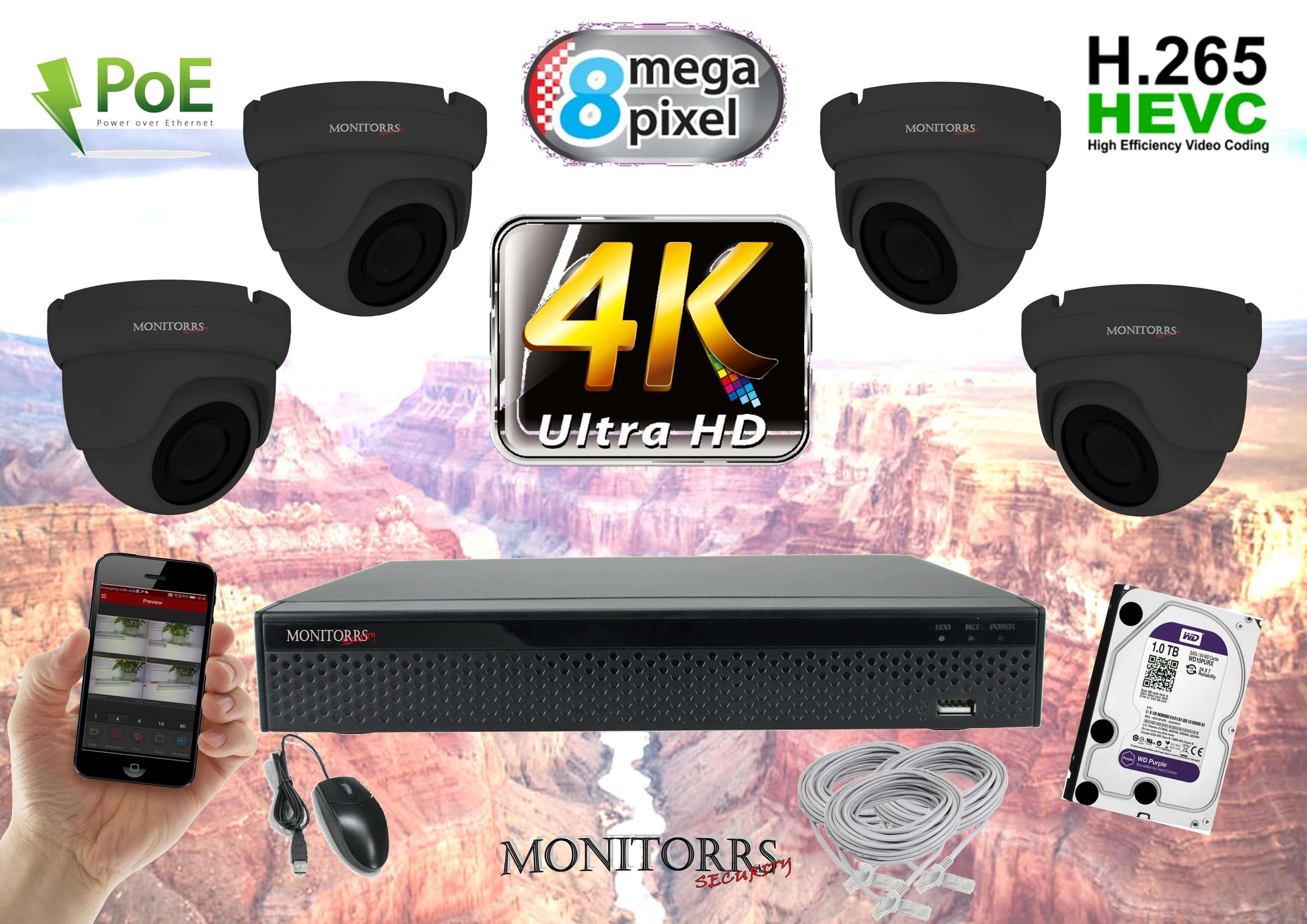 Monitorrs Security 4K IP 4 kamerový set 8 Mpix GDome (6195K4)