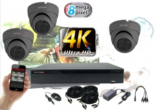 Monitorrs Security 4K AHD  3 kamerový set 8 Mpix GDome (6164K3)