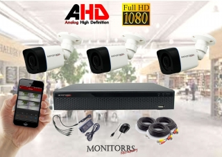 Monitorrs Security AHD 3 kamerový set  2 Mpix Tube (6030K3)