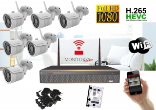 Monitorrs Security Wifi IP kamerový set Full HD 1080p 6xkamera   (6513K6)