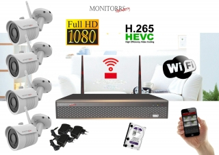 Monitorrs Security Wifi IP kamerový set Full HD 1080p 4xkamera  (6513K4)