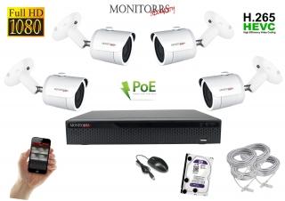 Monitorrs Security IP 4 kamerový set  2 Mpix  WTube (6002K4)