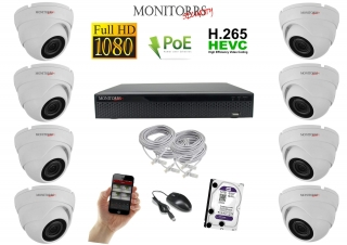 Monitorrs Security IP 8 kamerový set 2 Mpix WDome (6001K8)