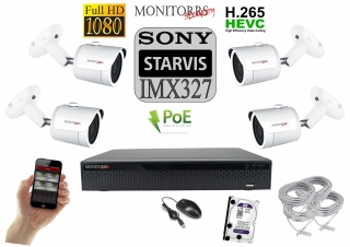 Monitorrs Security Starvis IP 4 kamerový set 2 Mpix WTube (6519K4)