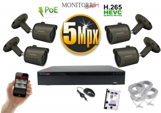 Monitorrs Security IP 4 kamerový set 5 Mpix GTube (6174K4)