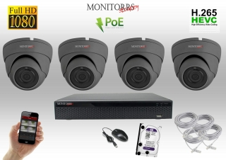 Monitorrs Security IP 4 kamerový set 2 Mpix GDome (6169K4)