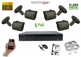 Monitorrs Security IP 4 kamerový set 2 Mpix GTube (6170K4)