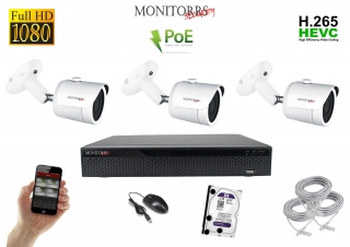 Monitorrs Security IP 3 kamerový set 2 Mpix WTube (6002K3)