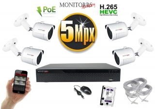 Monitorrs Security IP 4 kamerový set 5 Mpix WTube (6290K4)