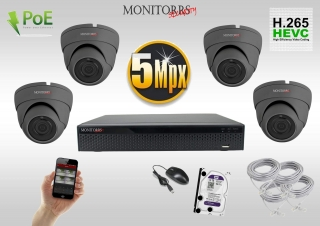 Monitorrs Security IP 4 kamerový set 5 Mpix GDome (6173K4)