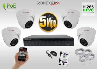 Monitorrs Security  IP 4 kamerový set 5 Mpix WDome (6292K4)