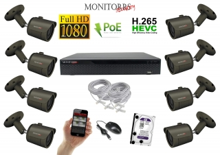Monitorrs Security IP 8 kamerový set  2 Mpix GTube (6170K8)