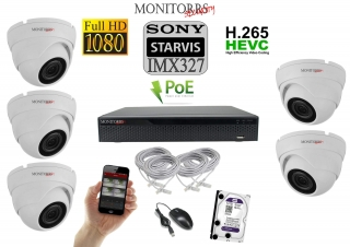 Monitorrs Security Starvis IP 5 kamerový set 2 Mpix WDome (6280K5)