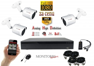 Monitorrs Security AHD 3 kamerový set 2 Mpix  WTube (6101K3)
