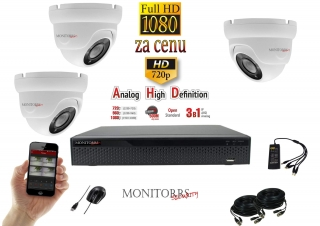 Monitorrs Security AHD 3 kamerový set 2 Mpix WDome(6103K3)