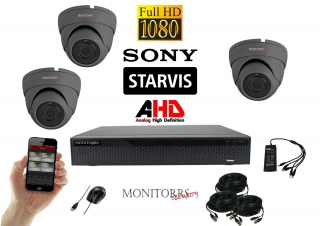 Monitorrs Security AHD STARVIS 3 kamerový set 2 Mpix GDome (6256K3)