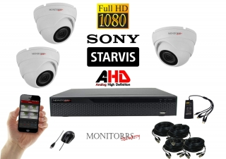 Monitorrs Security AHD STARVIS 3 kamerový set 2 Mpix WDome (6166K3)