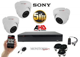 Monitorrs Security AHD 3 kamerový set 5 Mpix WDome (6355K3)