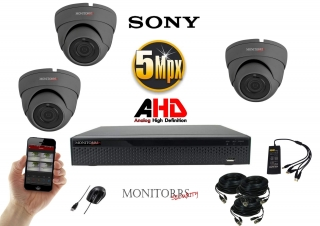 Monitorrs Security AHD 3 kamerový set  5Mpix GDome (6509K3)