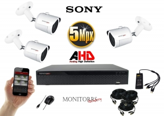 Monitorrs Security AHD 3 kamerový set 5 Mpix WTube (6510K3)