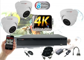 Monitorrs Security 4K AHD 3 kamerový set 8 Mpix WDome (6163K3)
