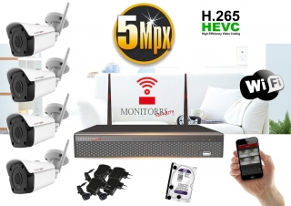 Monitorrs Security Wifi IP kamerový set 5MPix 4xkamera  (6183K4)