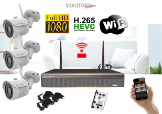Monitorrs Security Wifi IP kamerový set Full HD 1080p 3xkamera (6513K3)