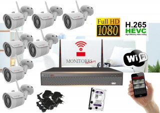 Monitorrs Security Wifi IP kamerový set Full HD 1080p 7xkamera   (6513K7)