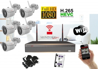 Monitorrs Security Wifi IP kamerový set Full HD 1080p 5xkamera   (6513K5)