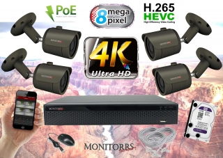 Monitorrs Security 4K IP 4 kamerový set 8 Mpix  GTube (6193K4)