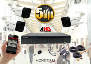 Monitorrs Security AHD 3 kamerový set 5 Mpix Tube (6198K3)