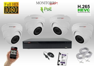 Monitorrs Security IP 4 kamerový set 2 Mpix WDome (6001K4)
